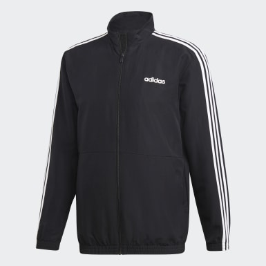 Men Training Black 3-Stripes Woven Cuffed Track Suit