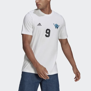 Men Football White Lil Stripe Graphic Number Tee