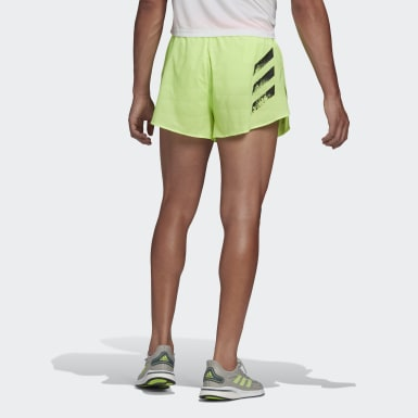 Men Running Green adidas Speed Split Shorts