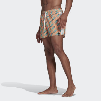 Men Swimming Orange Graphic Swim Shorts