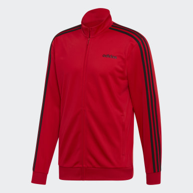 Veste de survêtement Essentials 3-Stripes Tricot rouge Hommes Essentials