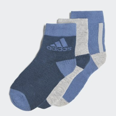 Youth 8-16 Years Training Blue Ankle Socks 3 Pairs