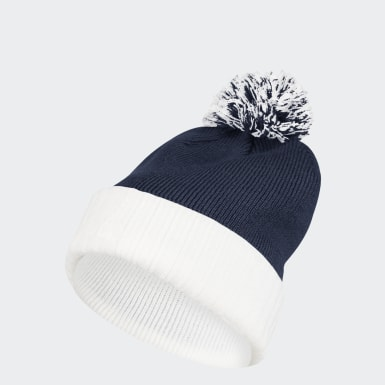 Men's Training Blue Cuffed Knit Pom Beanie