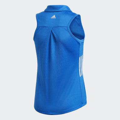 Girls Golf Blue Sleeveless Polo Shirt