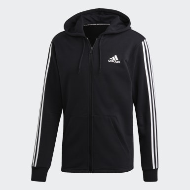 Muži Athletics čierna Mikina s kapucňou Must Haves 3-Stripes French Terry