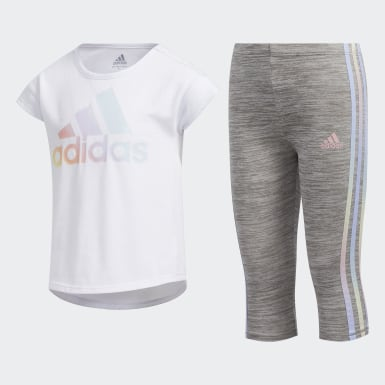 Children Yoga White Tee and Capri Tights Set