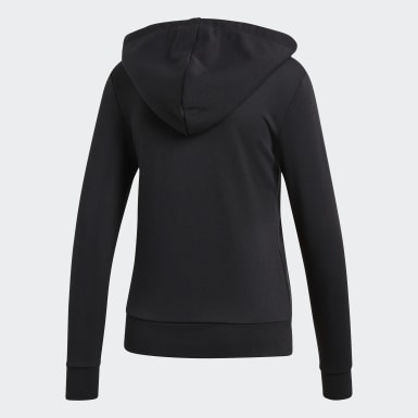Frauen Training Essentials Solid Kapuzenjacke Schwarz