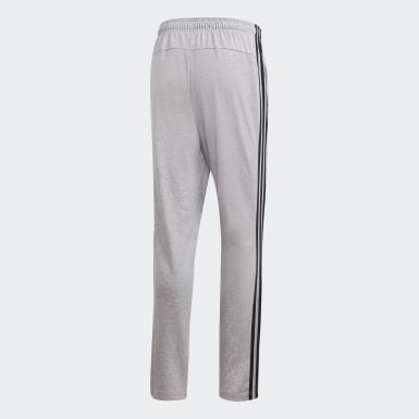 Pantalon Essentials 3-Stripes Tapered Open Hem Gris Hommes Training