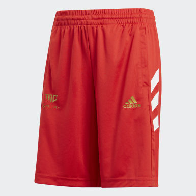 Boys Training Red Salah Football-Inspired Shorts