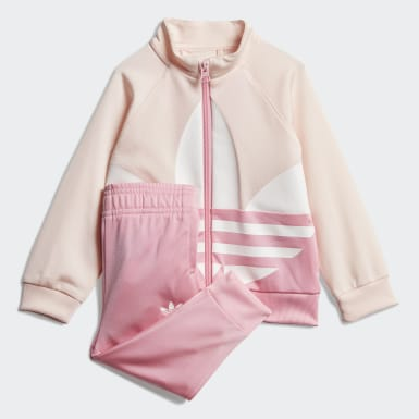 Kids Originals Pink Large Trefoil Tracksuit