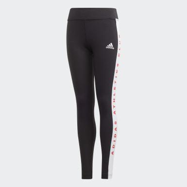 เด็กผู้หญิง โยคะ สีดำ กางเกงรัดรูป adidas Athletics Club