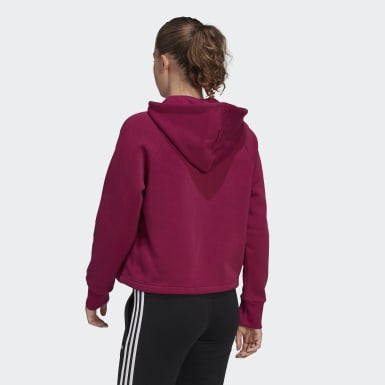 Women's Essentials Burgundy Stacked Logo Full-Zip Fleece Hoodie