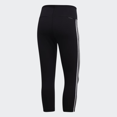 ผู้หญิง โยคะ สีดำ กางเกงรัดรูปสามส่วน Design 2 Move 3-Stripes