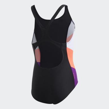 Mädchen Schwimmen Colorblock Badeanzug Schwarz