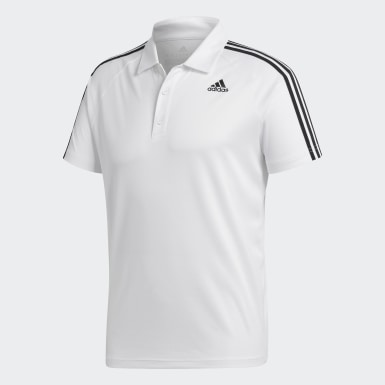 Camiseta Polo D2M 3 Rayas Blanco Hombre Training