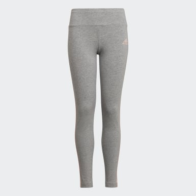 Girls Training Grey 3-Stripes Cotton Leggings