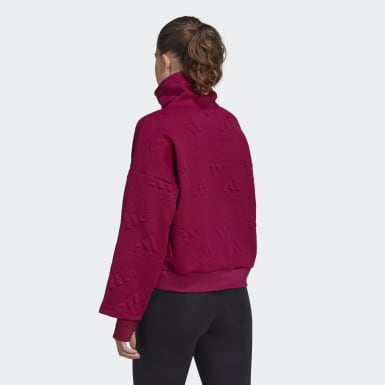 Sweat-shirt demi-zip AEROREADY Logo Jacquard Burgundy Femmes Athletics