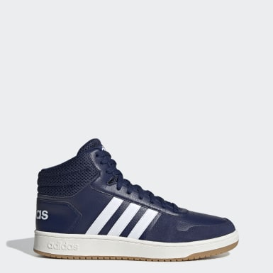 Men's Essentials Blue Hoops 2.0 Mid Shoes