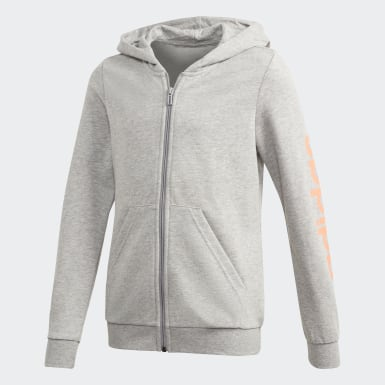 Veste à capuche Linear Gris Filles Athletics
