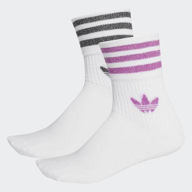 Kvinder Originals Hvid Mid-Cut Glitter Crew sokker, 2 par