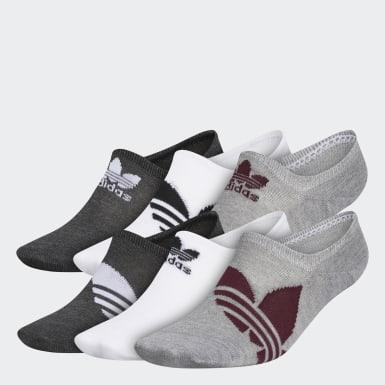 Men Originals Grey Trefoil Superlite Super-No-Show Socks 6 Pairs