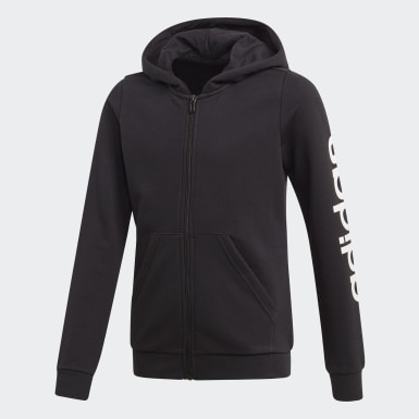 Girls Training Black Linear Hoodie