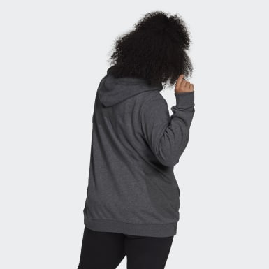 Women Sport Inspired Grey Essentials Logo Full-Zip Hoodie (Plus Size)