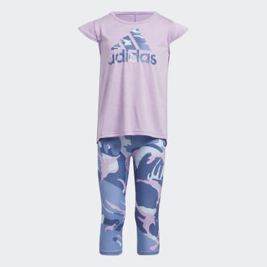 Children Training Purple Camo Capri Tights Set