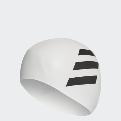 Bonnet 3-Stripes Blanc Natation
