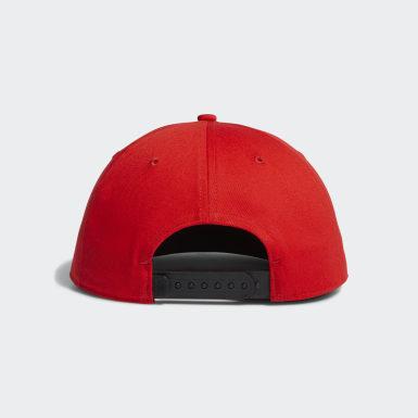 Men Golf Red Printed Bill Hat