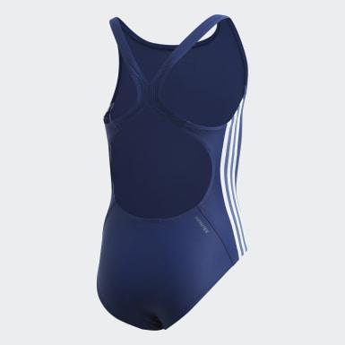 Mädchen Schwimmen Athly V 3-Streifen Badeanzug Blau