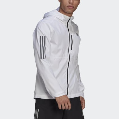 Men Running White Own the Run Hooded Wind Jacket