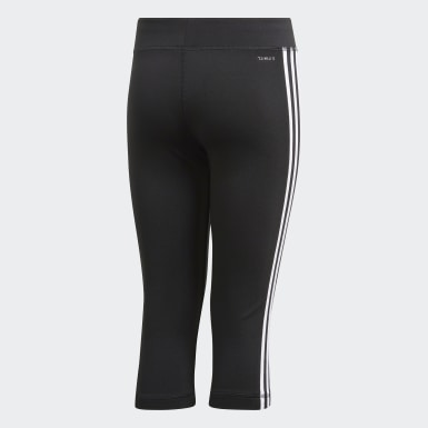 เด็กผู้หญิง โยคะ สีดำ กางเกงรัดรูปสามส่วน Equipment 3-Stripes