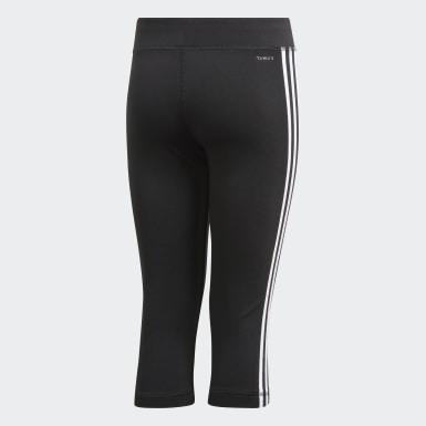 Dievčatá Joga čierna Legíny Equipment 3-Stripes 3/4