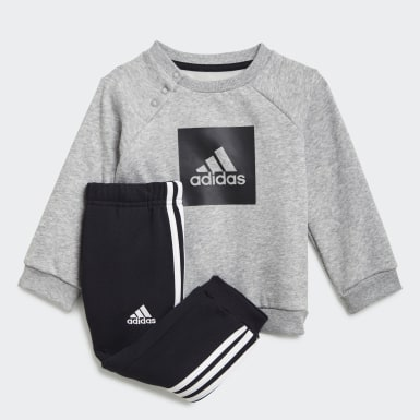 Kids Training Grey 3-Stripes Fleece Jogger Set