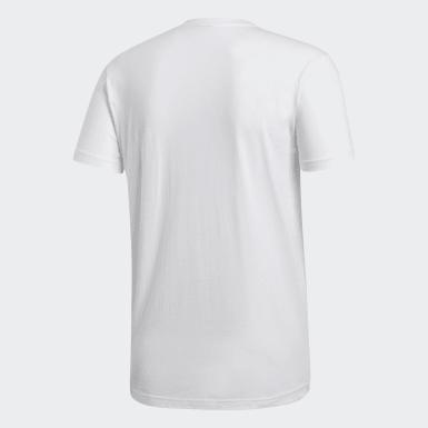 Men Sport Inspired White Emblem Tee
