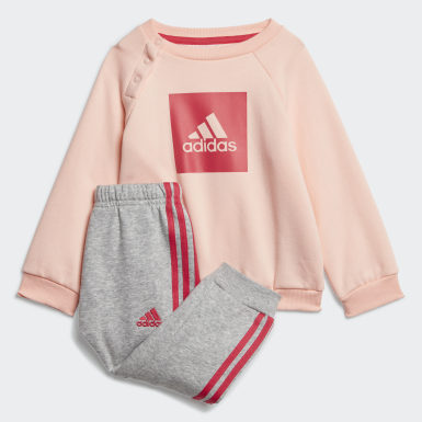 Girls Training Pink 3-Stripes Fleece Jogger Set