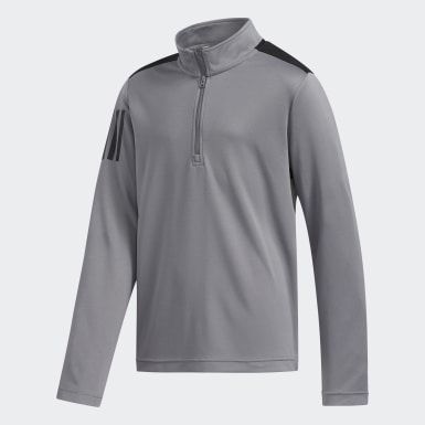 Boys Golf Grey 3-Stripes Half-Zip Pullover