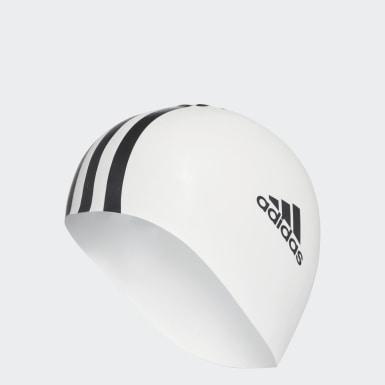 3 stripes silicone swim cap Bialy