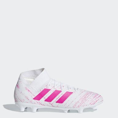 Calzado de Fútbol Nemeziz 18.3 Terreno Firme Blanco Mujer Fútbol