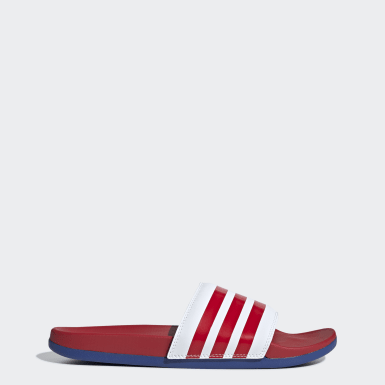 Dames Zwemmen Wit Adilette Cloudfoam Plus Stripes Badslippers
