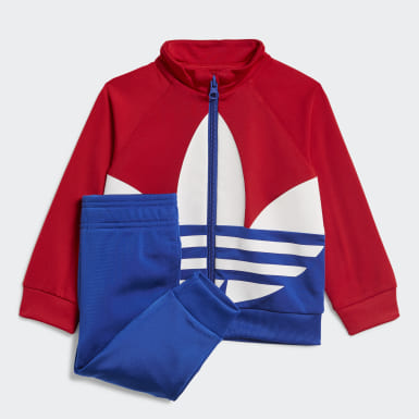 Kids Originals Red Large Trefoil Tracksuit