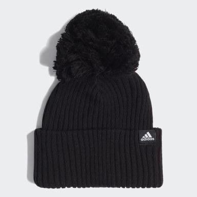 Kinder Wintersport 3-Streifen Mütze Schwarz