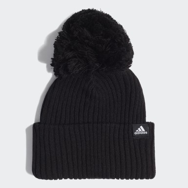 Kids 4-8 Years Winter Sports Black 3-Stripes Beanie