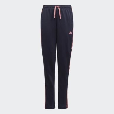 Mädchen Athletics adidas Designed To Move 3-Streifen Hose Blau