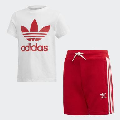 เด็ก Originals สีแดง ชุดเสื้อและกางเกง Trefoil