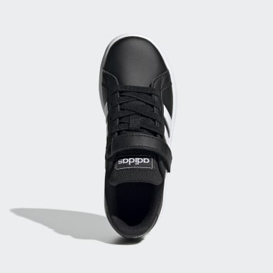 Children Sport Inspired Black Grand Court Shoes