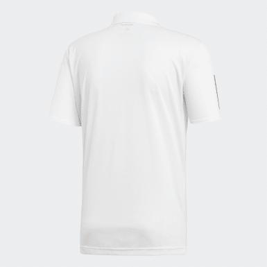 Männer Padel-Tennis 3-Streifen Club Poloshirt Weiß
