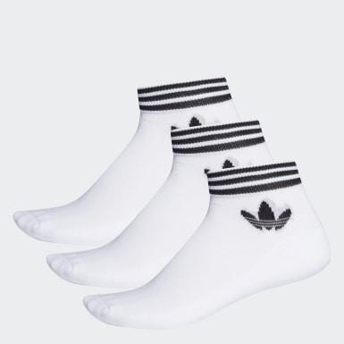 Meias Trefoil Ankle 3 Pares (UNISEX) Branco Originals