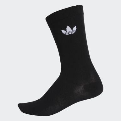 Originals Black Thin Trefoil Crew Socks 2 Pairs